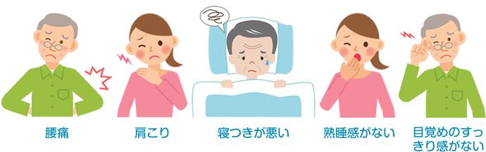 頭痛・肩こり・寝つきが悪い・熟睡感がない・目覚めのすっきり感がない